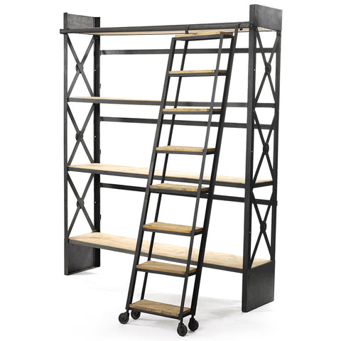 """Top Shelf"" Iron & Wood Bookcase with Ladder"