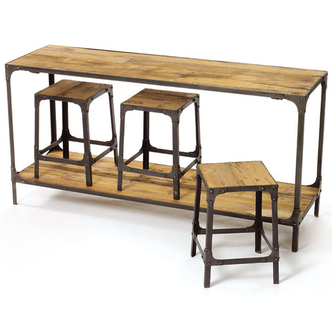 Reclaimed Wood Console & Stool Set