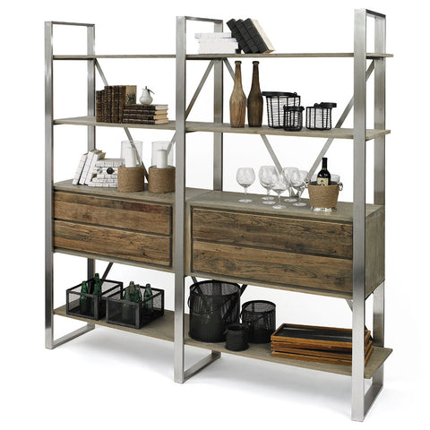 Wood & Steel Industrial Bookshelf