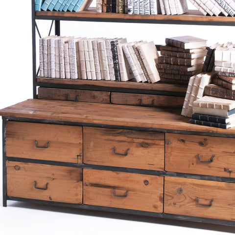 Wood & Steel Bench & Bookcase