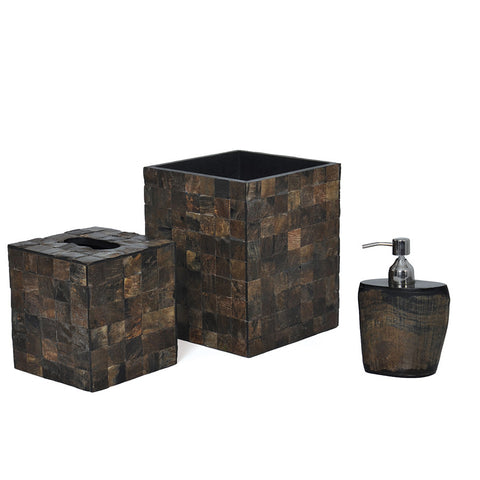 Wood & Nickel Bathroom Set (Set of 3)