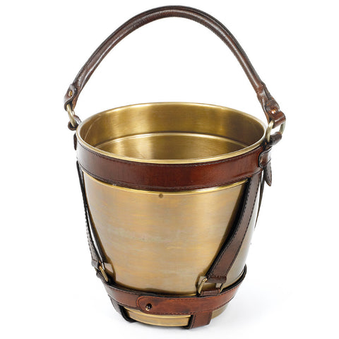 Leather-Handled Brass Champagne Bucket