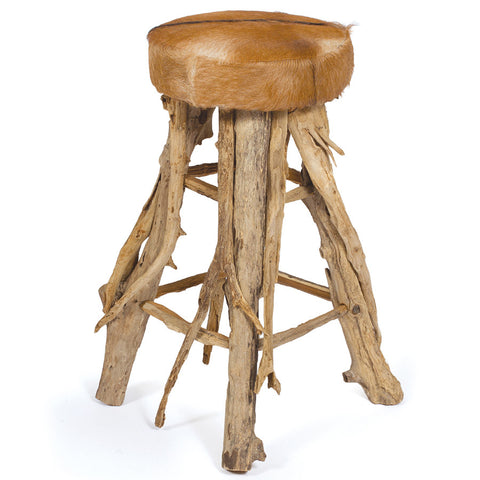 Wood & Hide Bar Stool