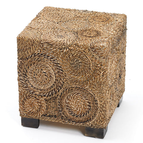 Rafia & Wood Square Stool