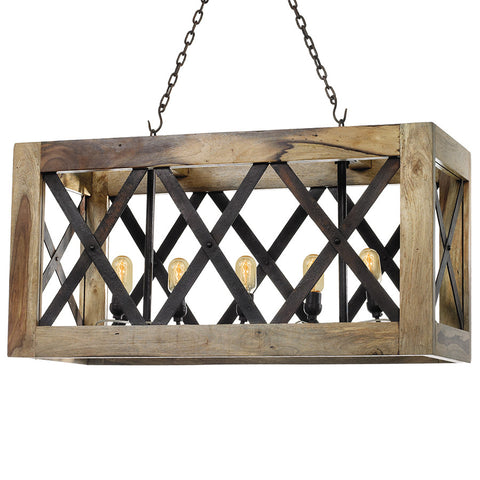 Wood & Iron Crate Chandelier