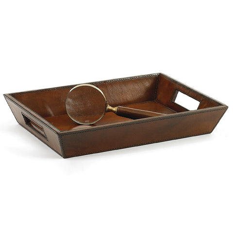 Brown Leather Desk Tray