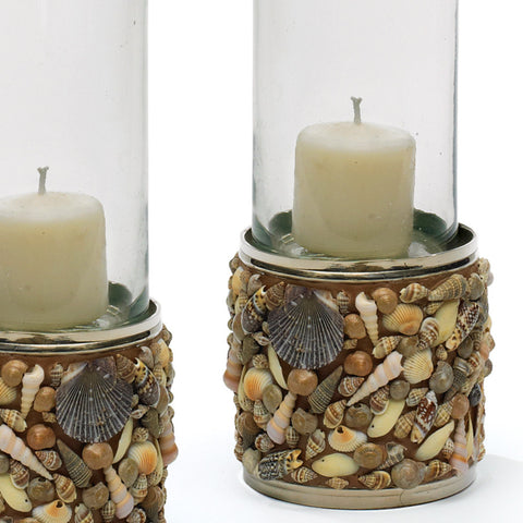 Seashell Pillar Candle Holders (Set of 2)