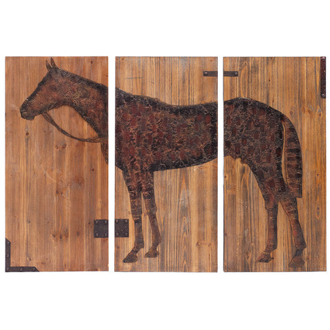 Wood & Metal Horse Wall Art
