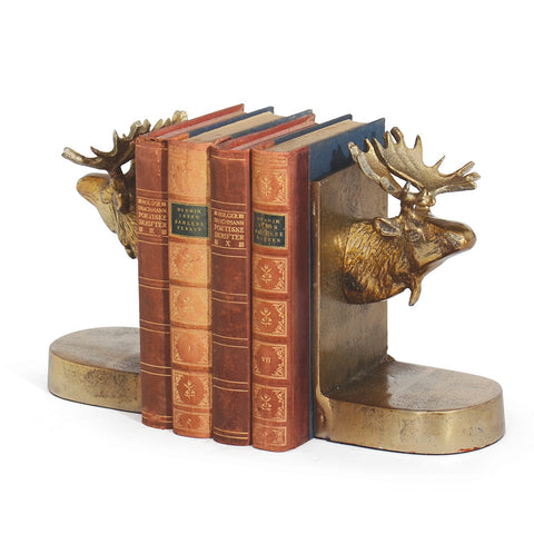 Brass Moose Bookends