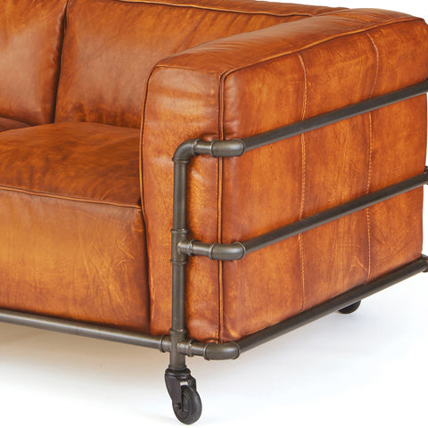 Danish Brown Leather & Iron Sofa