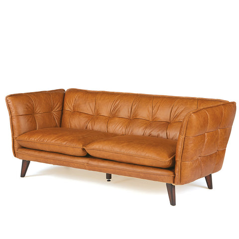 Danish Light Brown Leather Sofa
