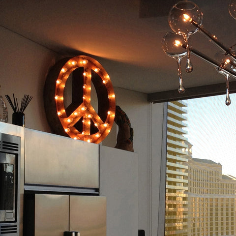"Peace Sign 24"" Vintage Inspired Light"