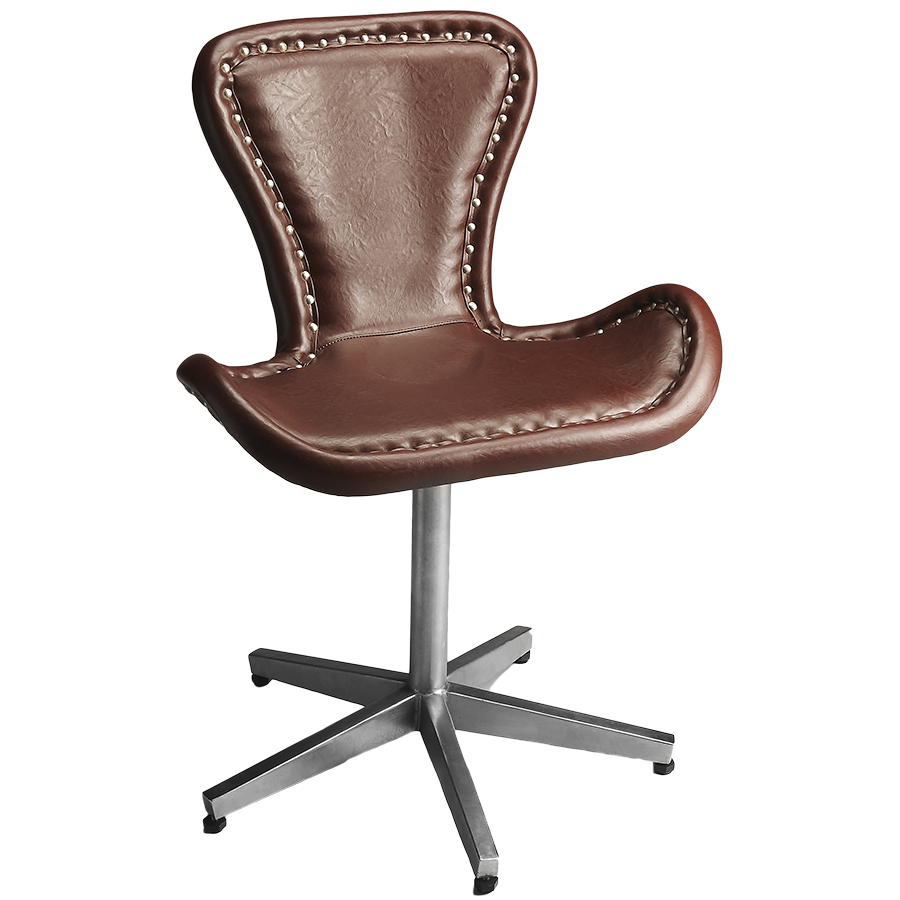 A Glass And Gold Bar Cart Brown Leather Armchair And: Aviator Office Chair