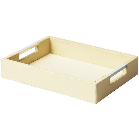 Cream Leather Serving Tray, Small