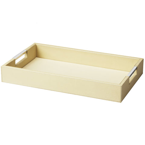 Cream Leather Serving Tray, Large