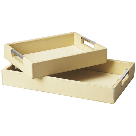 Small & Large Cream Leather Serving Trays