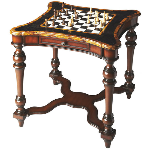 Aged Mahogany & Shell Game Table