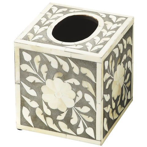 Gray & White Bone Tissue Box