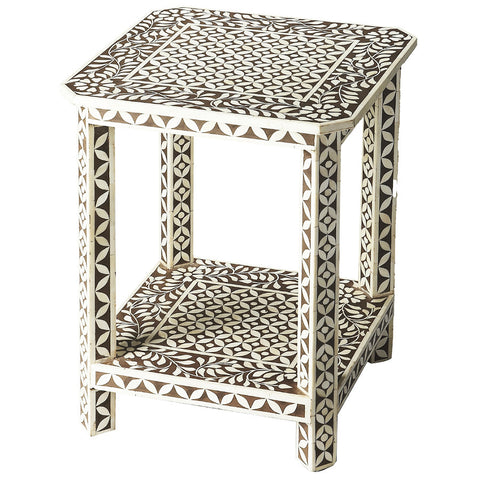 Brown & White Bone Inlay Side Table