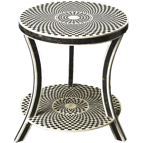 Black & White Bone Circular Side Table
