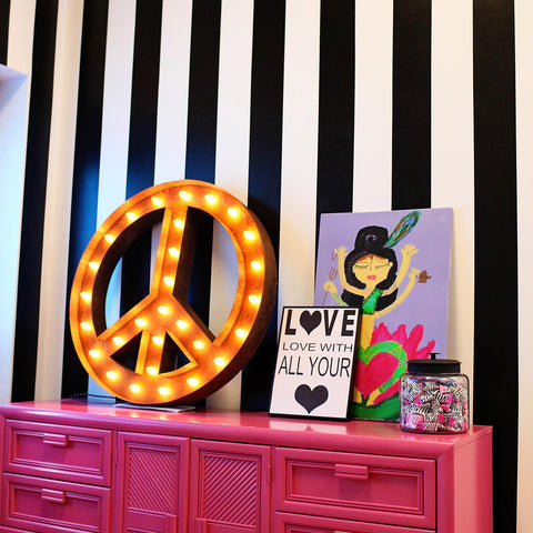 "Peace Sign 36"" - Vintage Inspired Light"