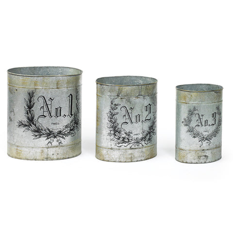 Numbered French Farmhouse Tins (Set of 3)