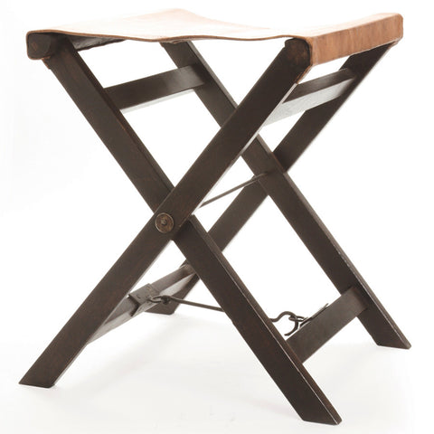 Folding Leather & Wood Camp Stool