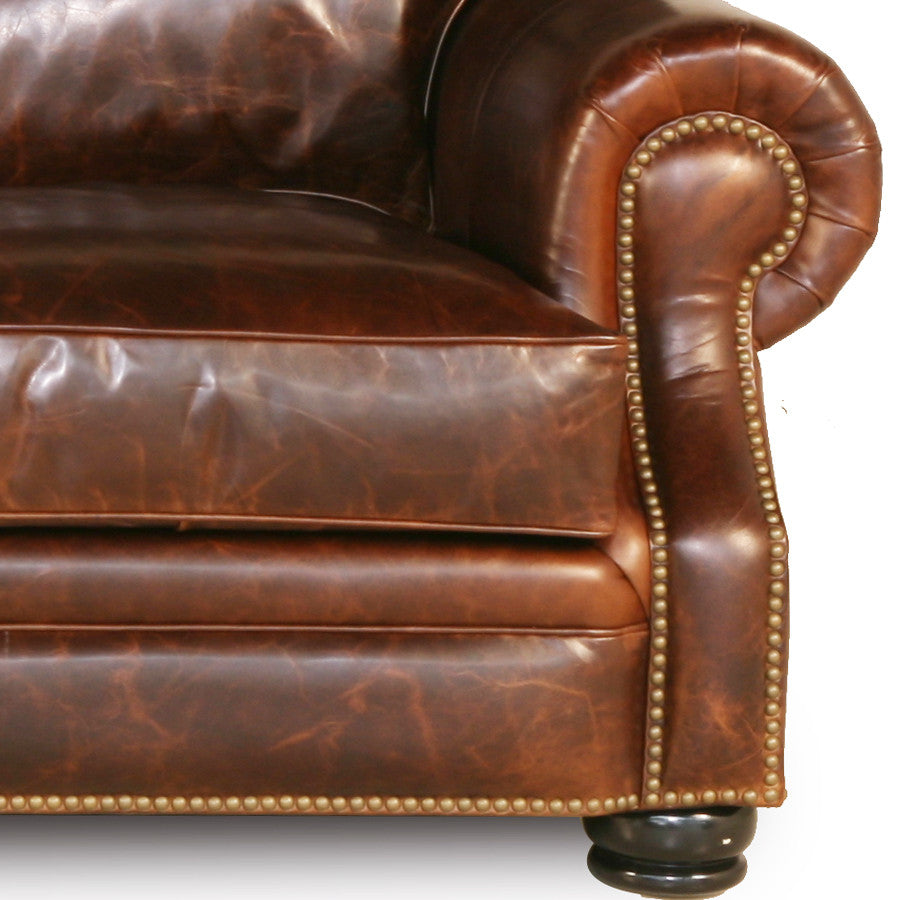 Brass Nail Handmade Brown Leather Sofa