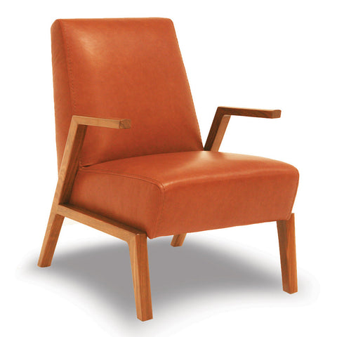 Mid-Century Tangerine Handmade Leather Accent Chair