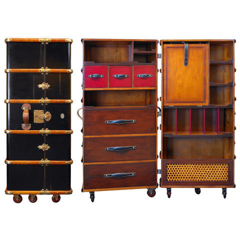 Steamer Trunk Armoire, Black