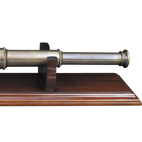 Bronze Spyglass with Wooden Display Stand