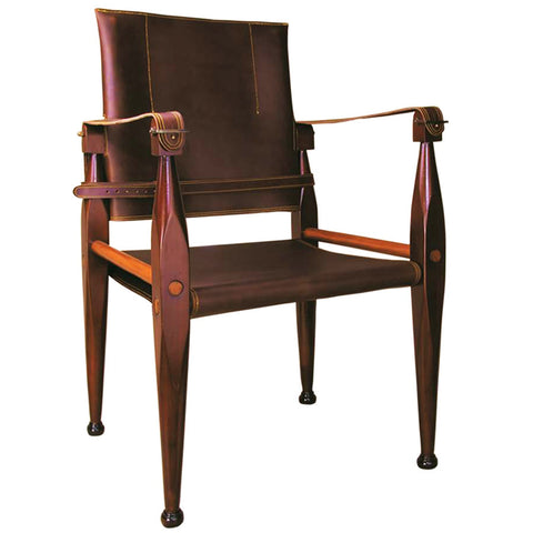 Sagamore Hill Safari Chair, Brown Leather