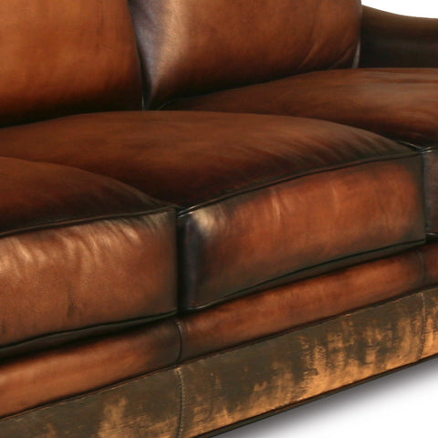 Distressed Handmade Brown Leather Sofa
