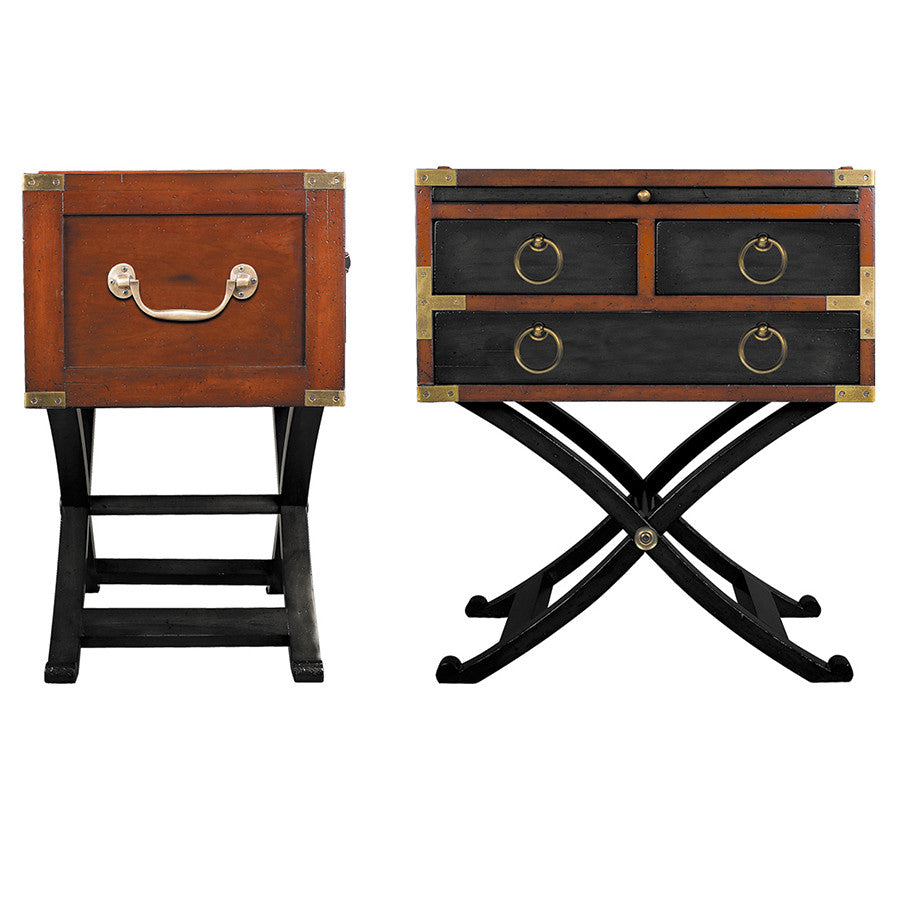Superior Campaign Style Side Table, Black