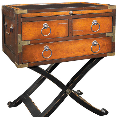 Campaign-Style Side Table, Honey