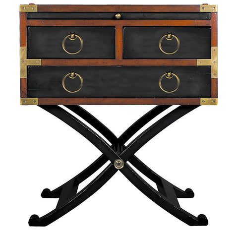 Campaign-Style Side Table, Black