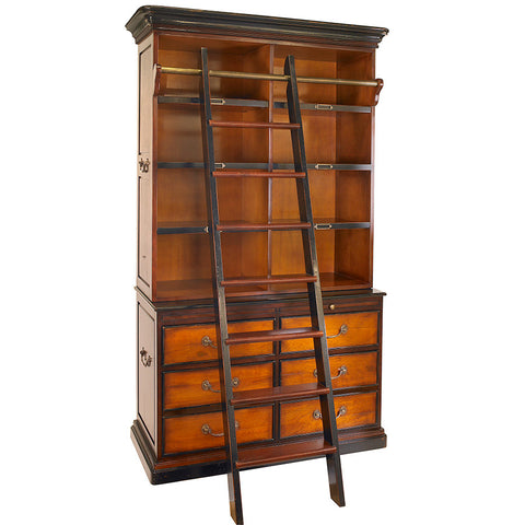 Rich Honey Bookcase with Library Ladder