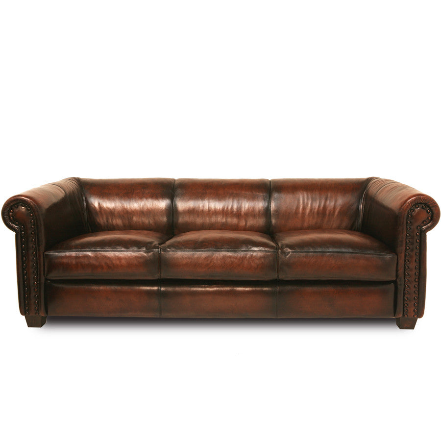 Vintage Style Handmade Brown Leather Sofa