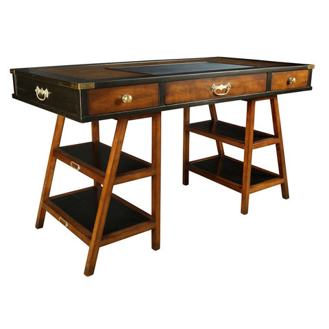 Handmade Aged Small Desk, Black & Honey