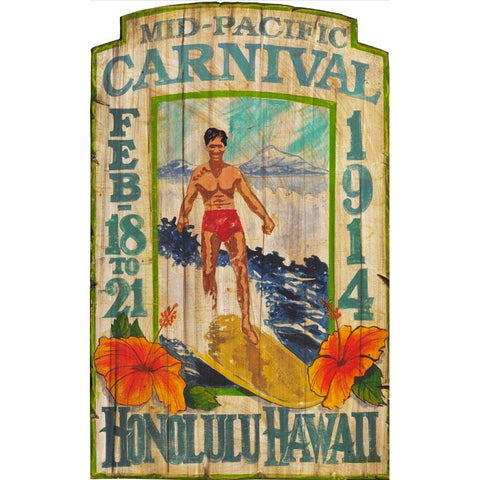 1914 Honolulu Hawaii Surfer – Vintage Sign