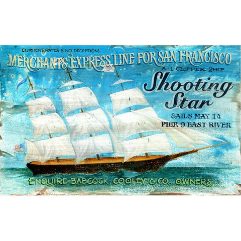 Shooting Star Clipper Ship - Vintage Sign