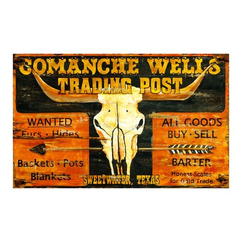 Texas Comanche Trading Post - Vintage Sign