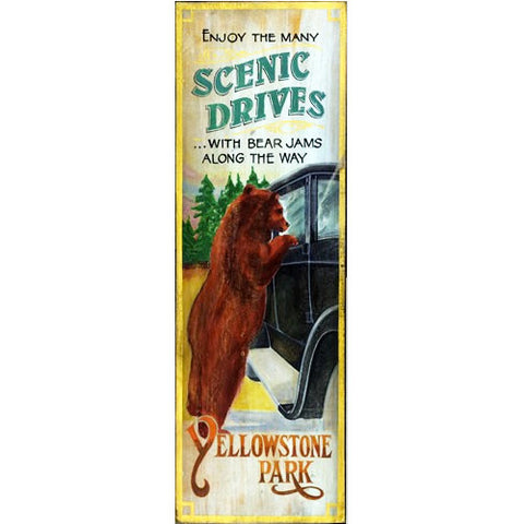 Yellowstone Park Bear Jam - Vintage Sign