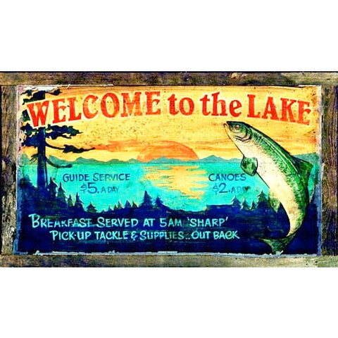 Welcome to the Lake - Vintage Sign