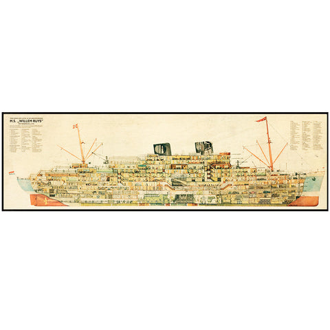 1930's Steamer Cross Section Wall Display