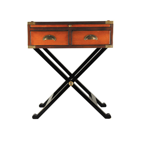 Campaign Style Secret Compartment Side Table