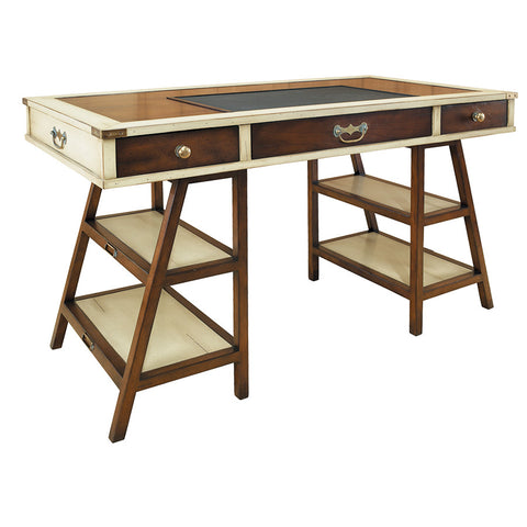 Handmade Aged Small Desk, Honey & Ivory