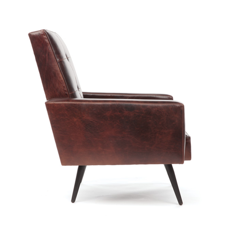 Mid Century Sandlewood Leather Chair