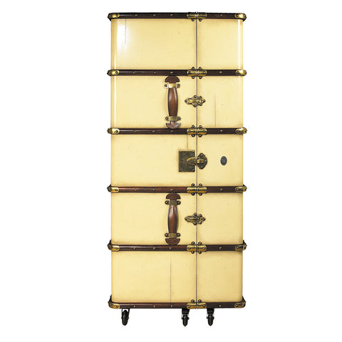 Steamer Trunk Portable Bar, Ivory