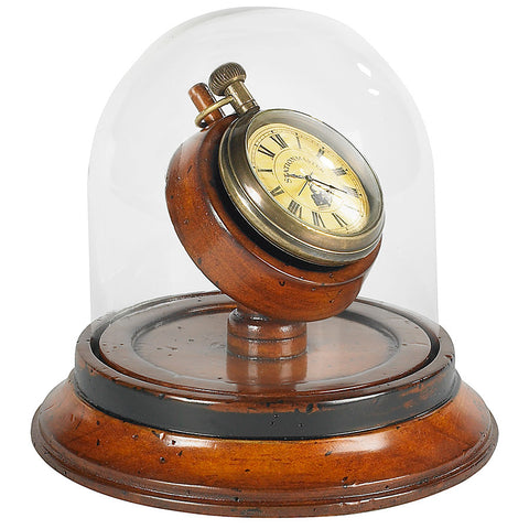 Victorian-Era Pocket Watch With Glass Dome Stand